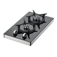 Eminçelik 40423 Domino 2 Gözü Gazlı Cam Setüstü Ocak-LPG