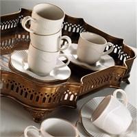 Kütahya Porselen Mitterteich Milena Krem 6 Kişilik Çay Fincan Takımı
