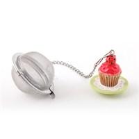Çay Süzgeci, Polirezen Dekorlu Kırmızı Cup Cake