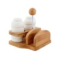 Fidex Home Bambu Porselen Peçetelik Ve Tuzluk Biberlik