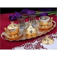 Sena Oval Tiryaki 2'Li Kahve Seti Hilalli Altın Sarı