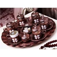 Sena Yonca 6'Lı Kahve Seti Hilalli Antik Bakır