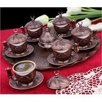 Sena Tiryaki 6'Lı Kahve Seti Hilalli Antik Bakır