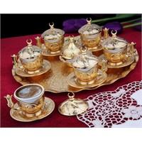 Sena Tiryaki 6'Lı Kahve Fincanı Hilalli Altın Sarı