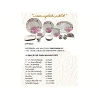 Lucky Art Median Pink 42 Parca Fine Bone China Kahvaltı Takımı