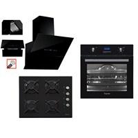 Ferre Black Belleza 3'lü Ankastre Set ( BE 6 LD/7002 Multifonksiyon Fırın + 1140 Siyah Cam Ocak + FMA 600 Asansörlü Siyah Davlumbaz )