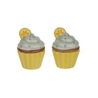 Tantitoni Seramik Limonlu Cupcake Şekilli Tuzluk Biberlik Seti