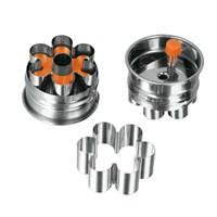 Metaltex Paslanmaz Çelik Tek Delikli Çiçek Şekilli Marmelat Dolum Hazneli Kurabiye Kalıbı
