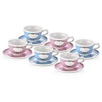 Neva N629 ( 2 Renk 1 Set ) 6'Lı Çay Fincan Seti