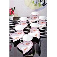Royal Windsor Cup Cake Serisi Kalp Tabakli Lüx 6'Li Fincan Seti