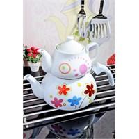 Royal Windsor Desenli Emaye Üzeri Porselen Çaydanlik Seti