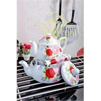 Royal Windsor Gül Desenli Emaye Üzeri Porselen Çaydanlik Seti