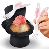 Şapkadaki Tavşan Cupcake Pişirme Kalıbı Seti
