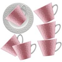 Kütahya Porselen 12 Parça Kahve Takımı Pembe
