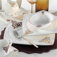 Kütahya Porselen Fileli Kare Bone 83 Parça 60110 Desenli Yemek Takımı