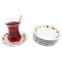 Gerok Kırmızı Lale 6 Adet Porselen Çay Tabağı