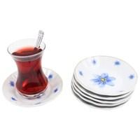 Gerok Mor Menekşe 6 Adet Porselen Çay Tabağı