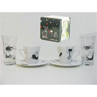 Happy Cats 2 Kişilik Kahve Seti+2 Su Kadehi ( Happy Cats )