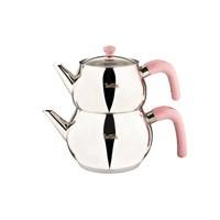 Tantitoni Pembe Paslanmaz Çelik Büyük Boy Çaydanlık Takımı