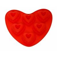 Atadan 6 Lı Kalp Silikon Kek Kalıbı-Kırmızı