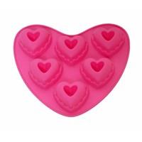 Atadan 6 Lı Kalp Silikon Kek Kalıbı-Pembe
