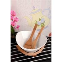 Royal Windsor Bambu Standlı Kaşıklı Lüx Porselen Salata Kasesi