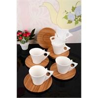 Royal Windsor Bambu Tabaklı Lüx Porselen 12 Parça Kahve Fincan Takımı