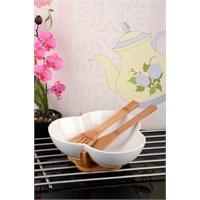Royal Windsor Bambu Standlı Ve Kaşıklı Lüx Porselen Salata Kase Seti