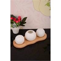 Royal Windsor Bambu Standlı Porselen Golf Topu Tuzluk Kürdanlık Seti