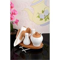 Royal Windsor Bambu Standlı Lüx Porselen Peçetelikli Tuzluk Ve Baharat Seti