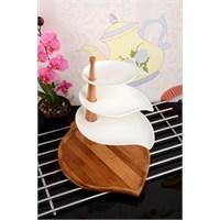 Royal Windsor Bambu Standlı Porselen Lüx 4 Katlı Döner Servis Seti