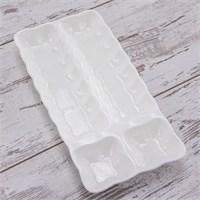 Mukko Home 4 Bölmeli Porselen Zeytinlik - Beyaz
