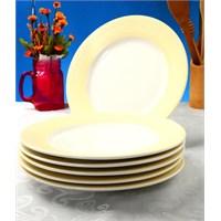 Evino 6'Lı Porselen Yemek Tabağı - Krem