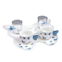 Key Porselen Kahve Fincan Seti 2 Li Kelebek Tepsili F-2M