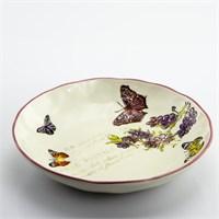 Mukko Home Seramik Kelebek Desenli Büyük Salata Tabağı
