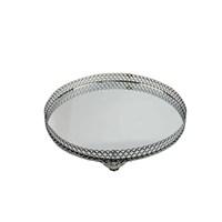 Cosiness Orta Yuvarlak Gümüş Yaldız Motifli Aynalı Tepsi