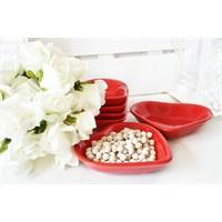 Keramika 14cm Çerezlik Kırmızı Kalp 6'lı