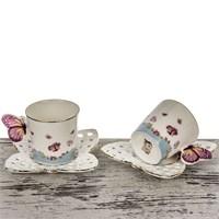 Mukko Home 2 Kişilik Lüks Porselen Kelebek Fincan Takımı - Mavi