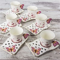 Mukko Home 6 Kişilik Lüks Porselen Kelebek Kahve Fincan Takımı - Pembe