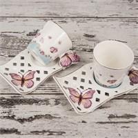 Mukko Home 2 Kişilik Lüks Porselen Kelebek Kahve Fincan Takımı - Pembe