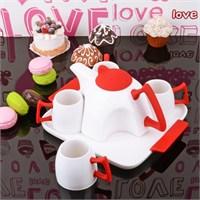 İhouse5645 Porselen Tepsili Çay Seti Kırmızı