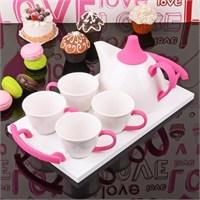 İhouse5649 Porselen Tepsili Çay Seti Pembe