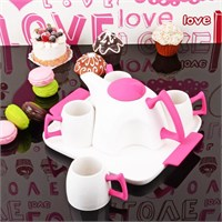İhouse5643 Porselen Tepsili Çay Seti Pembe