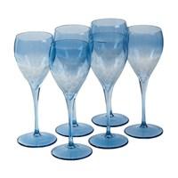 Altıncı Cadde Ayaklı Şarap Bardağı 6Lı Mavi