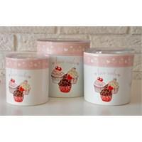 Keramika Set Saklama Kabı 10-10-12 Cm 3 Parça Beyaz 004 Pink Cake A