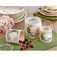 Keramika Set Saklama Kabı 10-10-12 Cm 3 Parça Krem 030 Retro A
