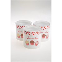 Keramika Set Saklama Kabı Ege 12 Cm 3 Parça Beyaz004-Kırmızı 506 Fruit Cake A