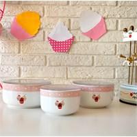 Keramika Set Saklama Kabı Kera 3 Parça Beyaz 004 Pink Cake A