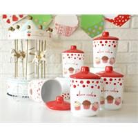 Keramika Takım Baharat Köşem 8 Cm 10 Parça Beyaz004-Kırmızı 506 Fruit Cake A