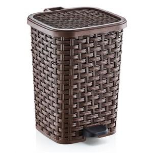 dünya plastik rattan pedallı çöp kovası 12 lt 272x249x342 mm - kahverengi